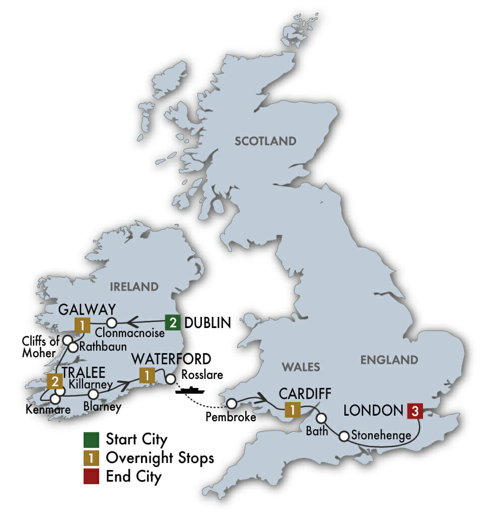Map Of Ireland And Britain.Guided Tour Of British Isles And Ireland Ireland Wales Tour
