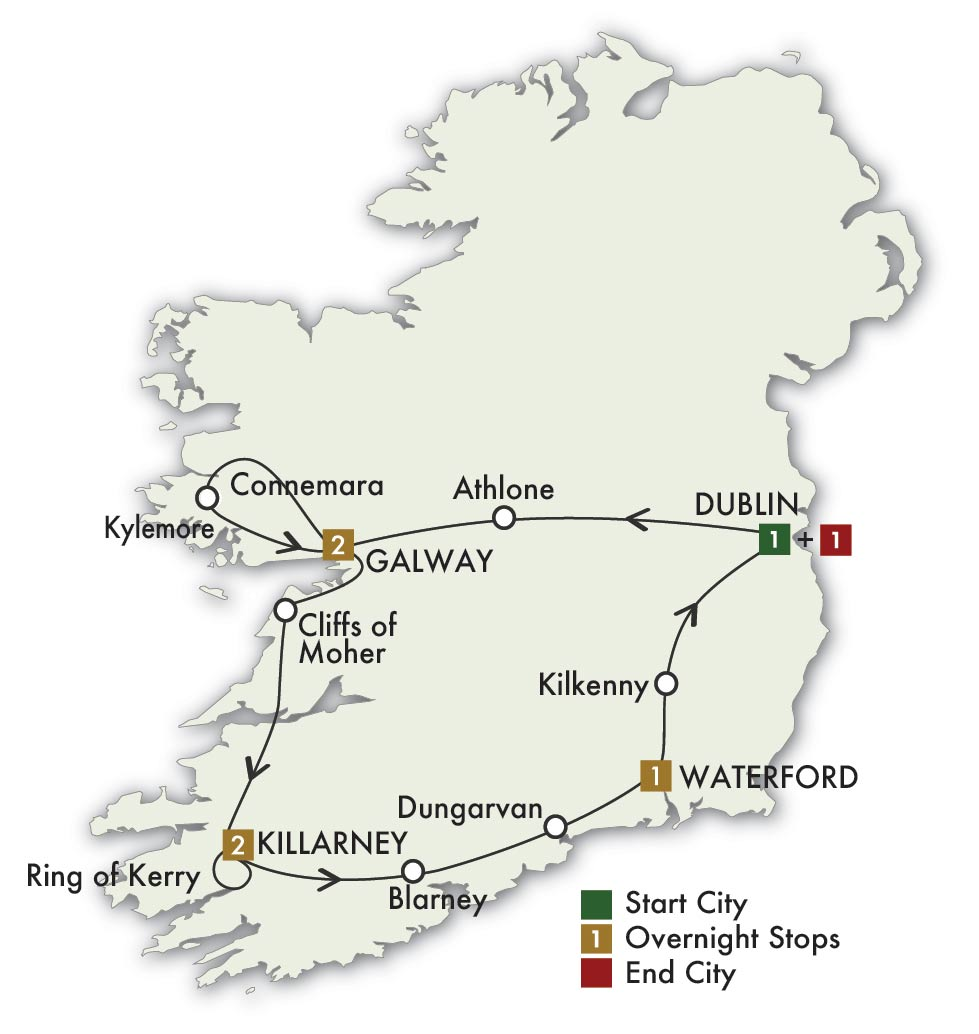 Map Of Southern Ireland Cities.8 Days 7 Nights One Week Tour Of Ireland Guided Tour Irish