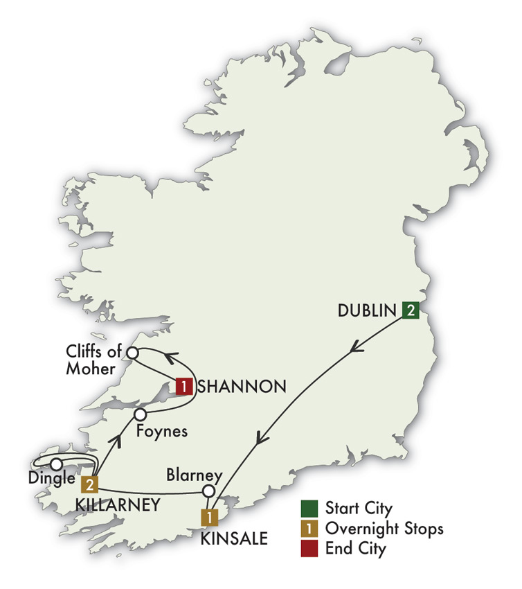 Map Of Ireland Showing Dingle.Ireland Guided Tour Lynott Tours 7 Day Ireland Tour Dublin To